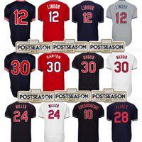ca1b7f431 Baseball Men Short Men s 12 Francisco Lindor 30 Joe Carter Jersey 24 Andrew  Miller 10 Edwin