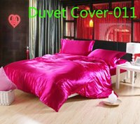 Wholesale Rose Brown gray Luxury Duvet Cover silk Satin Twin Full Queen King size Single Double quilt cover comforter cover Duvet Cover