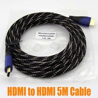 Wholesale 5M HDMI Version Gold HDMI to HDMI Cable Digital Audio Video Cable Male to Male Cable Adapter For p PS3 High Speed up