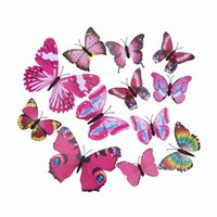 wall magnetic - Lovely D Wall Sticker PVC Butterfly Magnetic Sticker For Home Decoration Room DIY Ornament ZYQ1