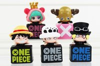 anime plugs - Anime One Piece Dust Plug Mini PVC Figure Toys Trafalgar Law Luffy Sabo Chopper Sugar cm set Approx With Box