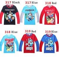 Cheap Minecraft Boys T Shirts Long Sleeve Cute Cartoon Cotton Tees Kids T-Shirt Children Autumn Tops M2018