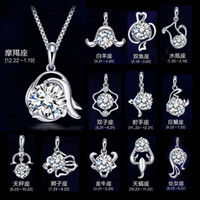 Wholesale New sterling silver necklace pendant twelve constellations pendants zodiac pendant excluding chain High quality