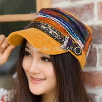 Wholesale High quality baseball flat top cap hat cap striped cotton pathwork ethnic caps sport Casual hats snapback cap fashion for women