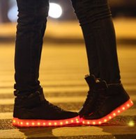 Cheap New Brand Unisex Men Women Fashion 7 Colors LED Lighted Shoes Lace Up High-top Casual Sneakers Lover's Tide shoes