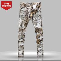 Men animal print skinny jeans - Men s Coloured Drawing Printed Jeans Serpentine Pattern Elastic Male Skinny Jeans Personalized Pants