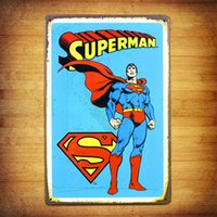 Wholesale Creative Cartoon Superman Tin sign Vintage Movie Poster Retro Home Art Decor Wall Sticker Bar Metal Mural Painting cm cm
