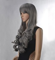 auburn hair color pictures - 100 Brand New High Quality Fashion Picture Wig can hot dye gt gt New Women s Lady Gray Full Wig Curly Wavy Long Hair Wigs Anime Costume Cosplay