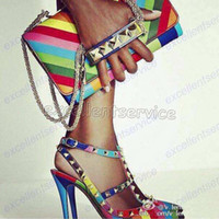 Wholesale Valentine Shoes for Women Rainbow Shoes Wedding Sexy High Heel Pointed Toe Ankle Strap Rivet Heels Woman Stiletto Pumps