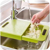 Wholesale Korean kitchen sink drain basket vegetables wash plastic cutting board with one cut sink shelf