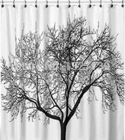 Wholesale Simple Big Black Scenery Tree Design Bathroom Waterproof Fabric Shower Curtain one color