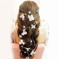 Cheap Stock 2014 Bridal Hair Accessories Handmade Butterfly Flower Headwear Bridal Headband Wedding Jewelry Pearl Bridal Hair Piece Free Shipping