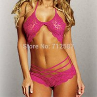 Wholesale Sexy Woman Lace Sleepwear Halter Underwear Lingerie G string Black Red