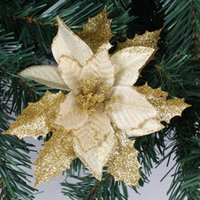 artificial trees cheap - cm Gold Glitter Artificial Christmas Flowers Poinsettia Cheap Christmas Ornaments