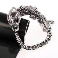 asian ornaments - Punk Rock Style Men s Individual Dinosaur Skeleton Bracelet L Titanium Steel Antique Silver Polished Fashional Ornaments J0672