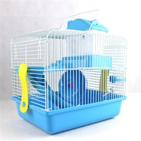 Wholesale Hamster Gerbil Mouse Cage House Storey Pet Nest bedroom Water Bottle Wheel Slide x21x31cm