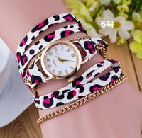 band spots - Stylish Wild Leopard Spots Women Slim Roped Strap Bracelet Watches Brand New Leather Wide Band Designer Luxury Wristwatch Tiger Dots Clock