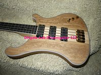 bass sculptures - ONE piece neck strings Bass Guitar wood Manual sculpture Skeleton Electric bass from China