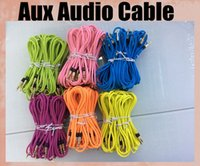 Wholesale General AUX audio cable round with metal head m audio cord male to male mm for phone iphone ipad galaxy car tablet PC colorful CAB036