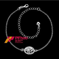 Wholesale European and American silver jewelry selling fancy elegant hollow anklets SPA006 A