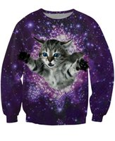 Cheap w1217 women men 3d Kitty Glitter Crewneck Sweatshirt fuzzy cat galaxy sweatshirts sexy crewneck sweats pullover tops hoodies jumper