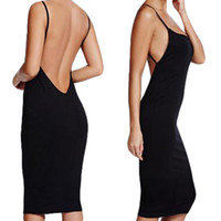 Wholesale S5Q Women s Summer Sleeveless Backless Cocktail Evening Party Bodycon Midi Dress AAAEWO