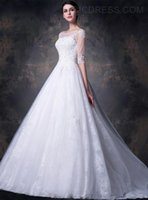 beding cover - Ball Gown Wedding Dresses Grace Gowns Made in Tulle Bateau Neckline Chapel Train Beding Applique and lace Vintage Half Sleeve Bridal Dress
