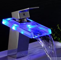 battery deck lights - NEW TOP No Need Battery Basin Faucets LED Light Bathroom Waterfall Chrome Brass Deck Mounted Single Handle Sink Faucets Mixers Taps