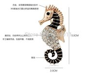Wholesale Fashion Jewelry Brooches New Design High Quality Rhinestone Brooches For Wedding Seahorse Brooch For Women Fashion jewelry good gift