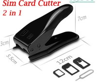Wholesale 5 in Dual Sim Cutter With Nano Micro Standard SIM Card Adapter For IPhone S C Samsung S5 S4