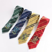 Wholesale Harry Potter Tie Gryffindor Harry Potter Badge Slytherin Gryffindor Ravenclaw Hufflepuff Striped Ties School Neckwear G268