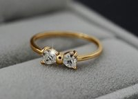 Wholesale New Arrive Austria Crystal CZ Diamond rings Gold Plated finger Bow ring wedding engagement Zircon Crystal Rings women jewelry