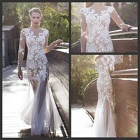 Cheap Modest Zuhair Murad Bridal Gowns Nude Mermaid Long Sleeves Beaded Appliques See Through Tulle Sexy Sheer Wedding Dresses Evening Dress