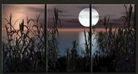 beautiful moon pictures - handmade piece beautiful landscape moon lake picture oil painting on canvas wall art for living room unique gift