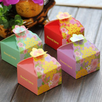 sugar flowers - 1000 New Arrival Pink Flower European Style Sugar Candy Boxes Wedding Favours Square Paper Gift Boxes