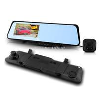 Cheap 6000A Rearview Mirror Car DVR HD 1920x1080p Rear View Camera 720P H.264 Dual Cameras wtih GPS G-sensor PIP Function