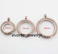 Wholesale Chocolate Living Locket - High Quality Twist Open Crystal Chocolate 20mm 25mm 30mm 316L Stainless Steel Glass Pendant Floating Charms Living Locket