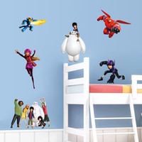 Wholesale Big Hero Kids Wall Sticker Cartoon Character Removable Poster Boys Decorative Wall Decals Child Room Decor