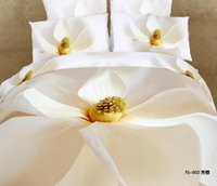 beautiful california - 4 Pieces Per Set with Beautiful White Magnolia Quality D Bedding Set