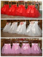 Wholesale Satin Chair Sash Weddings Satin Tulle Floral Wedding Decorations Bows Chair Covers Chair Sashes Wedding Accessories yt01