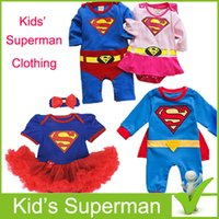 apparel for kids baby - Superman kids Cosplay apparel for Halloween Superman Party clothing for girl and boy kid superhero suite superman costume for baby boy s