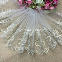 hand embroidered garments - Exquisite gold embroidered tulle lace trim mesh tape trimming for hair bow garment hand craft DIY accessories cm yards