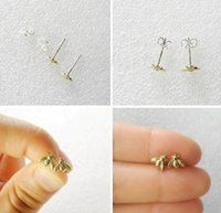 bee studs - 10Pair S021 Gold Silver Tiny honeybee Stud Earrings Woodland Insect fly bird honey Bumble Bee stud Earrings