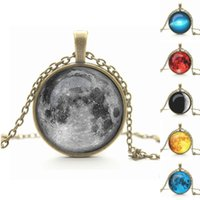 antique glass pictures - Art picture galaxy pendant necklace glass cabochon necklace antique Bronze chock necklace women necklace jewelry