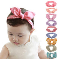 Wholesale Cute Baby rabbit ear Headbands Kids Infant Linen Bow Dot Striped hair headdress Children Hair Accessories Christmas Party Gift