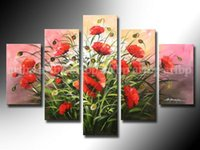 african american art paintings - Flowers oil Painting Red Poppies Pink Background African American Art Large Wall canvas art Gifts Oil Paintings On Canvas