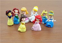 belle keychain - Nice Princess figures cinderella belle Snow White set of New Princesses PVC figure Beauty girls toys dolls Keychain