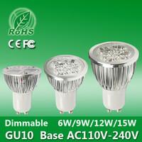 Cheap 5pcs lot Brightness Aluminum Cold Warm White LED Light Bulb GU10 6W 9W 12W 15W 110V~240V LED Spotlight Lamp Dimmable