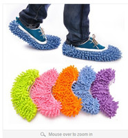 Wholesale 8 colors Multifunctional Chenille dawdler shoes cover unpick wash the floor mop slippers brushing shoes cover S129