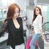 Wholesale Wholesales Feitong Autumn Sexy Women Long Sleeve Lace Crochet Blazer Small Blazer Jacket